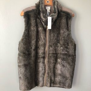 Zenergy by Chico's Faux Fur Vest Zip Up NWT XL